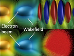 single electron beam riding a plasma wave at high speed and high energy