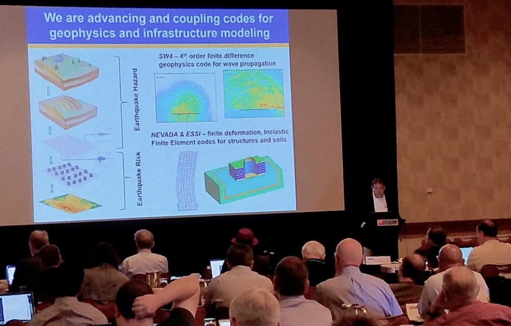 Researcher David McCallen speaking at the 69th HPC User Forum in Tucson