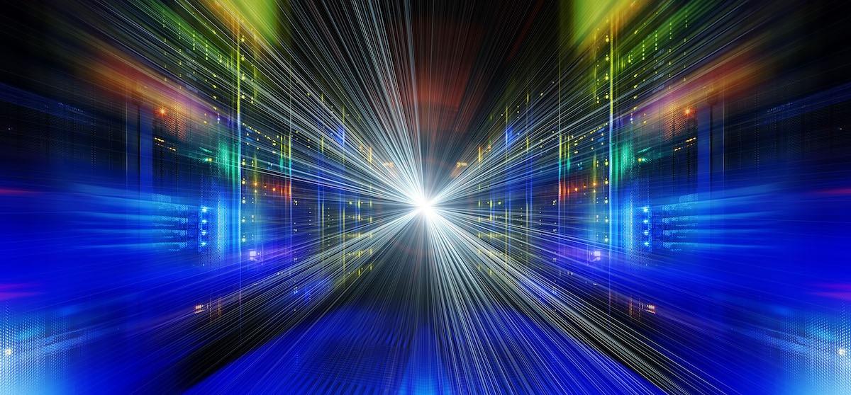 Series mainframe in a futuristic representation of light streams stock photo