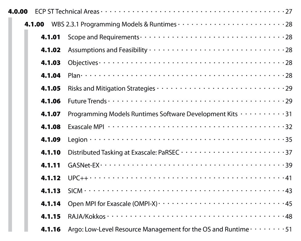 Example table of contents entry for an Exascale Computing Project Software Technology technical area